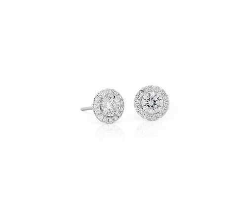 18k White Gold Diamond Halo Stud Earrings .28ct Centers - from Holsten Jewelers