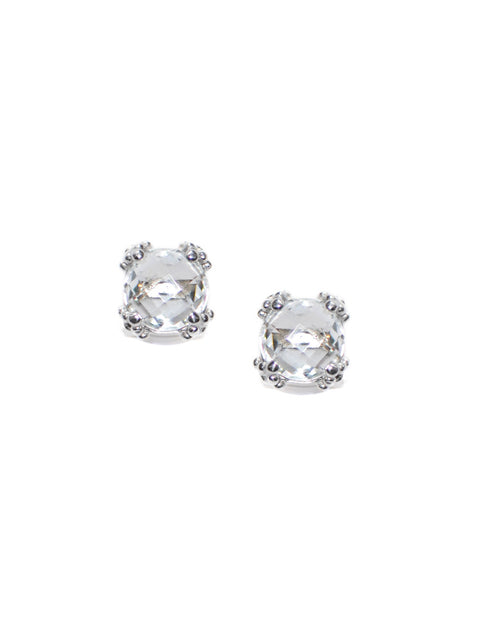 Sterling Silver 8MM White Topaz Dew Drop Cluster Earrings