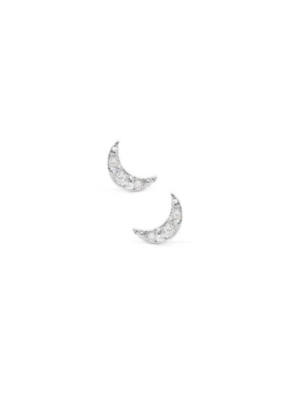 Sterling Silver Mini Moon Studs