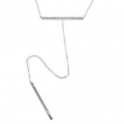 Sterling Silver Diamond Bar with Dangling Bar Necklace