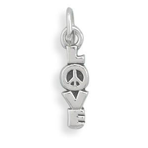 Sterling Silver Love & Peace Pendant - from Holsten Jewelers