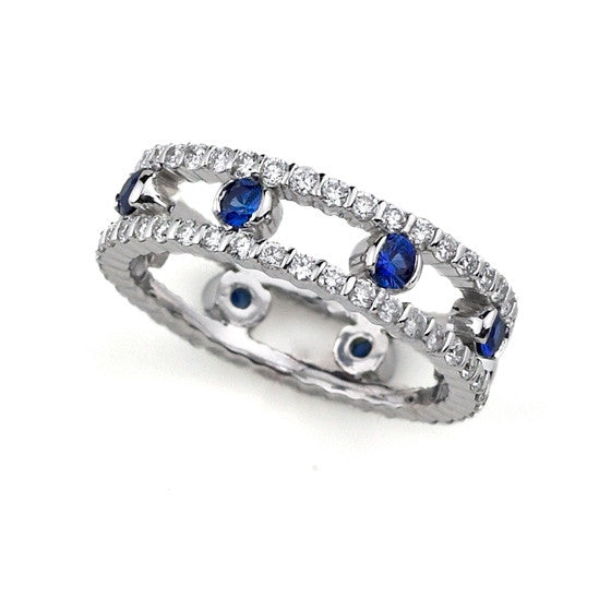 18K White Double Diamond Band with Sapphire Center - from Holsten Jewelers