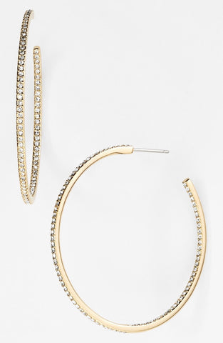 "18k Yellow Gold  1 3/4"" Inside Out Diamond Hoop Earrings - from Holsten Jewelers"