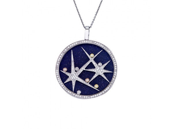 Blue Gold Sandstone with Floating Diamonds Pendant - from Holsten Jewelers