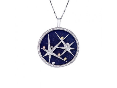 18k White Gold Blue Gold Sandstone with Floating Diamonds Pendant - from Holsten Jewelers