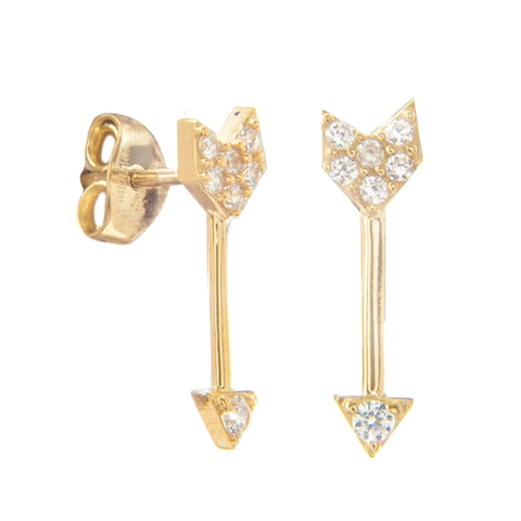14k Arrow Stud With CZ Earrings