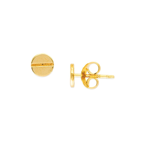 14k 6mm Round Screw Design Earrings