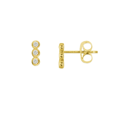14k Bezel Set Trio Stud Earrings With 3 Round Diamonds