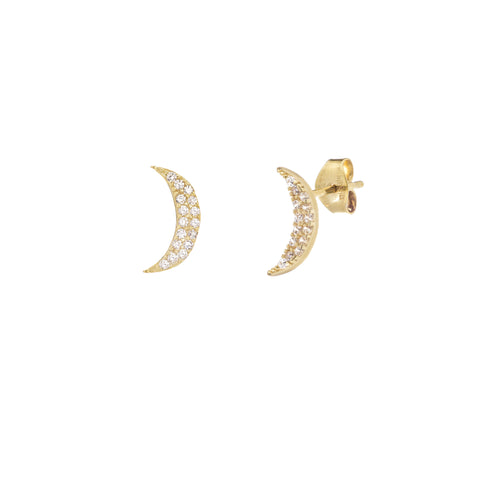14k Crescsent Moon With CZ Earrings