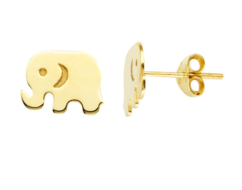 14k Cut Out Elephant Earrings