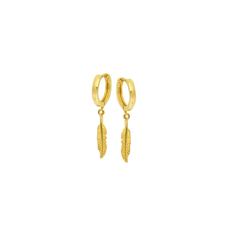 14k 10mm Baby Hoop With Dangle Feather Earrings