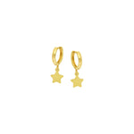 14k 10mm Baby Hoop With Dangle Star Earrings