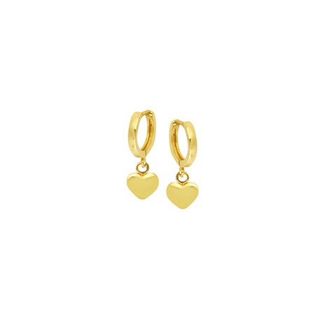 14k 10mm Baby Hoop With Dangle Puff Heart Earrings