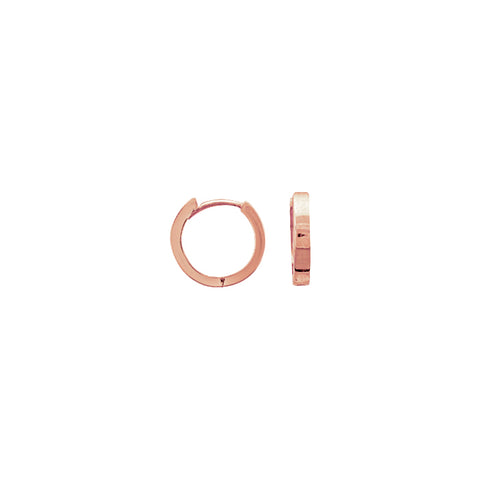 14k Rose Gold 11mm Square Shape Huggie Earrings