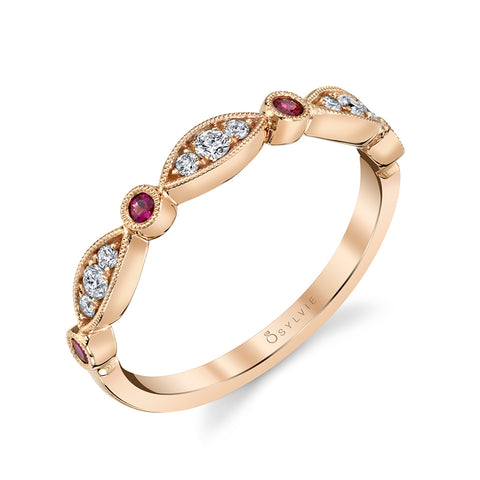 14k Rose Gold Talia Vintage Inspired Milgrain Ruby and Diamond Band