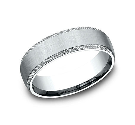 14k White Gold Edge Comfort Fit Knurled Edge Wedding Band Size10 - from Holsten Jewelers