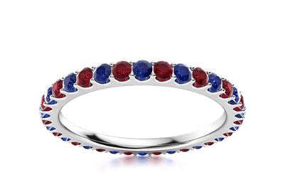 14k White Gold Ruby and Sapphire Eternity Band