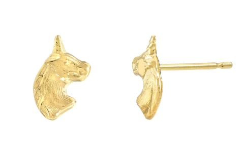 14k Yellow Gold Unicorn Earrings
