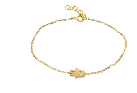 14k Yellow Gold Diamond Hamsa Ankle  Bracelet