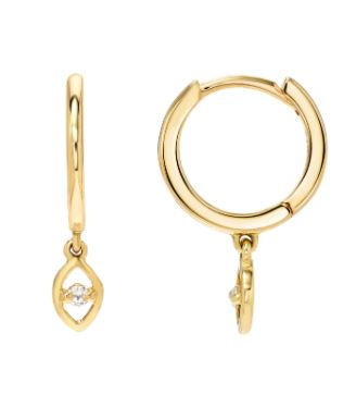 14k Yellow Gold Diamond Eye Hoop Earrings