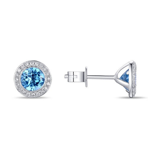 14K White Gold 6mm Blue Topaz and Diamond Halo Earrings - from Holsten Jewelers