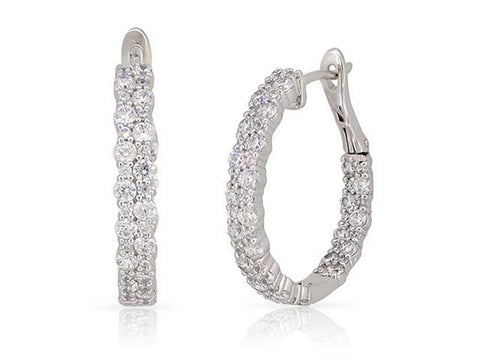 14k White Gold Double Row Diamond Hoop Earrings - from Holsten Jewelers