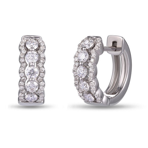 14k White Gold Three Row Diamond Huggie Earrings - from Holsten Jewelers