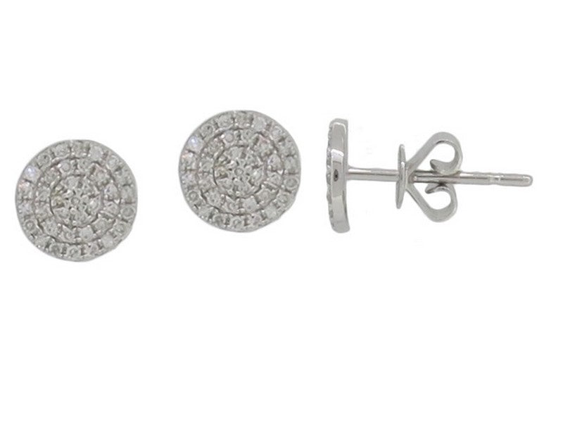 14k White Gold 7Mm Diamond Pave Disc Studs - from Holsten Jewelers