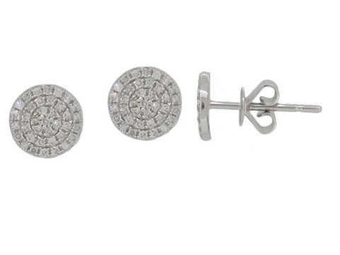 14k White Gold 7mm Diamond Pave Disc Earrings - from Holsten Jewelers