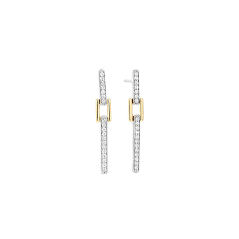 14k White and Yellow Gold Diamond Buckle Earring - from Holsten Jewelers