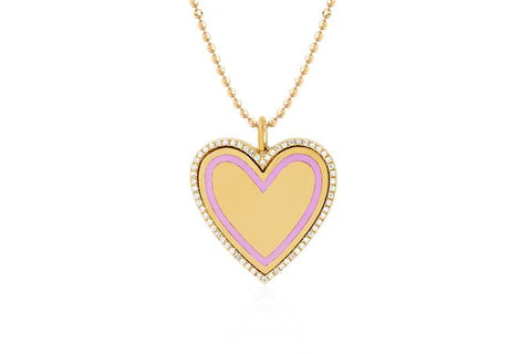 14k Diamond & Light Pink Enamel Heart Necklace