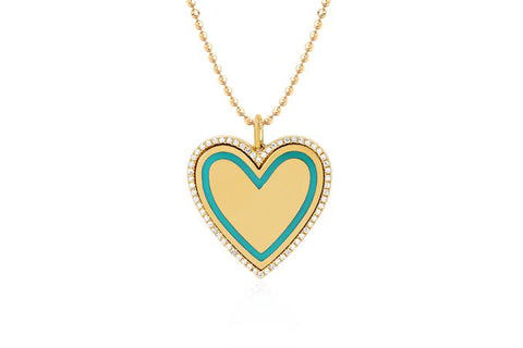 14k Diamond & Turquoise Enamel Heart Necklace