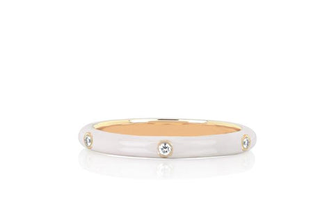 14K 3 Diamond White Enamel Stack Ring