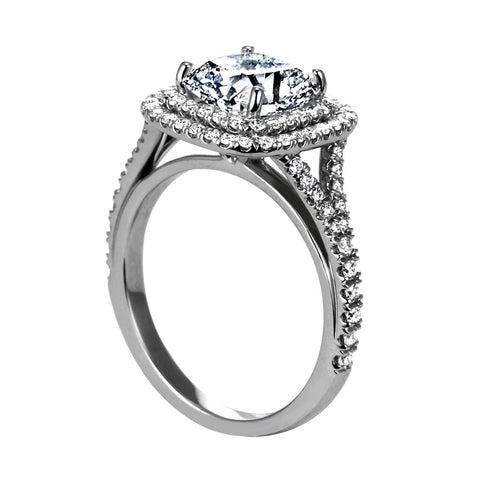 Platinum Cushion Shape Double Diamond Halo Engagement Ring with Split Shank(center stone not included) - from Holsten Jewelers