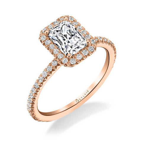14k Rose Gold Vivian Emerald Cut Diamond Halo Engagement Ring (center stone not included)