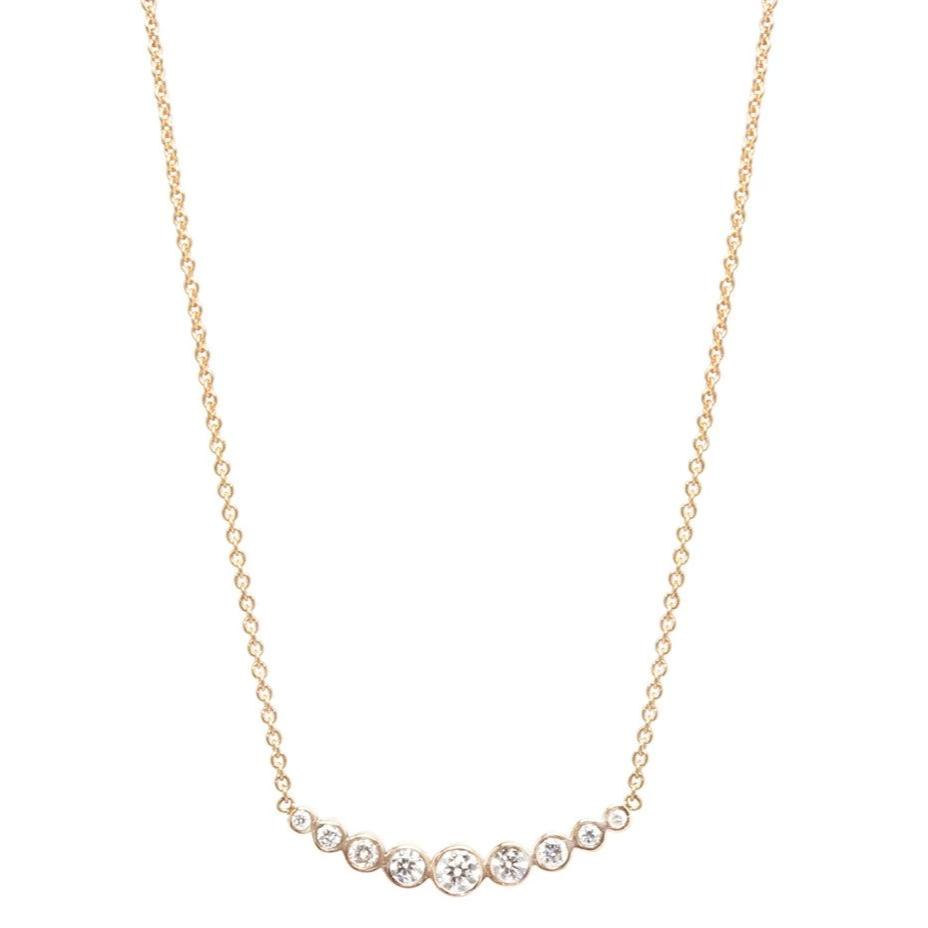 14K GRADUATED CURVED BEZEL BAR NECKLACE - from Holsten Jewelers