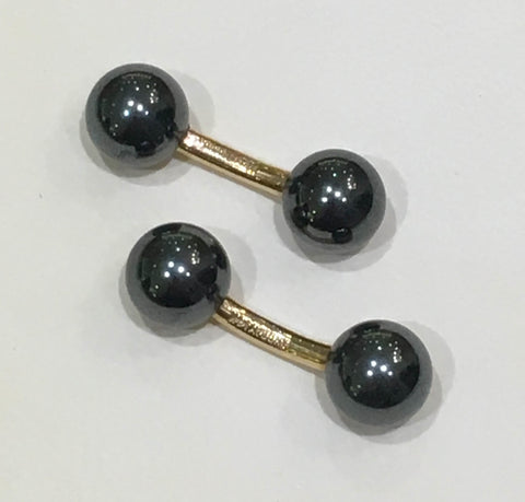 14k Yellow Gold 9mm Double Hematite Cuff links - from Holsten Jewelers