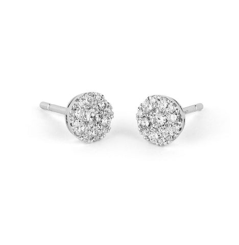 14k White Gold Diamond Cluster Earrings - from Holsten Jewelers