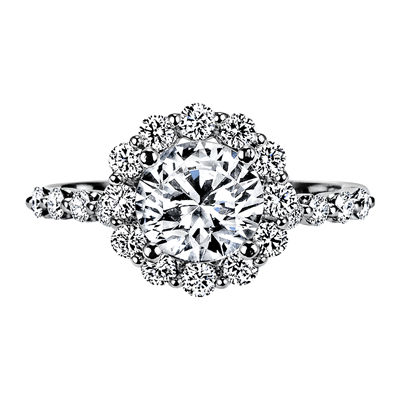 "Nine-Stone ""Royal Prong"" Halo Diamond Engagement Ring"