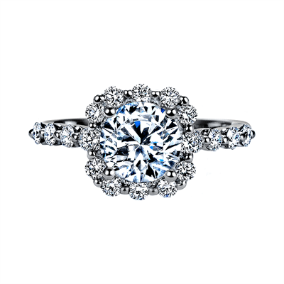 "Nine-Stone ""Royal Prong"" Cushion Halo Diamond Engagement Ring"