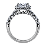 "Platinum Nine-Stone ""Royal Prong"" Cushion Halo Diamond Engagement Ring(center diamond not included) - from Holsten Jewelers"