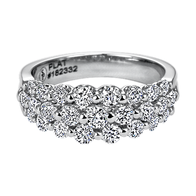 Platinum and Diamond 3 Row Band