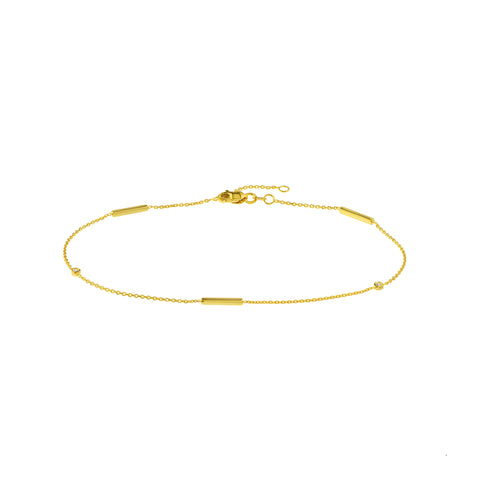 14k Yellow Gold Tube & Bezel Ankle Bracelet