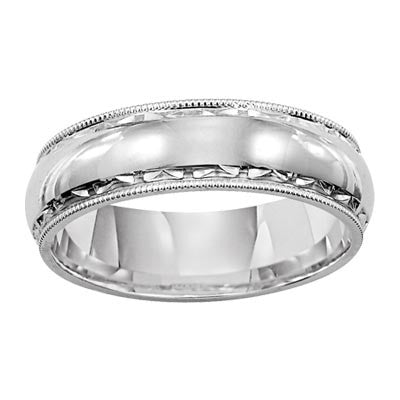 14K White Gold 5MM Milgrain Wedding Band