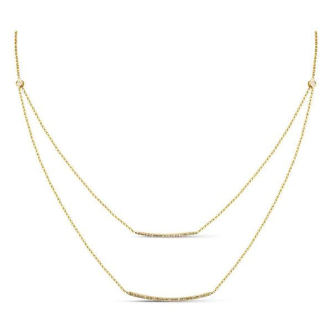 14k Yellow Gold and Diamond Double Bar Necklace
