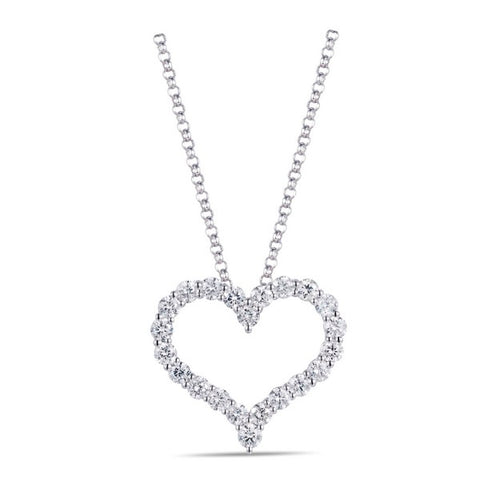 14k White Gold Open Diamond Heart Pendant Necklace
