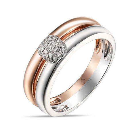 R03638-Rd.TT, two tone ring, rose gold ring, rose gold white gold ring