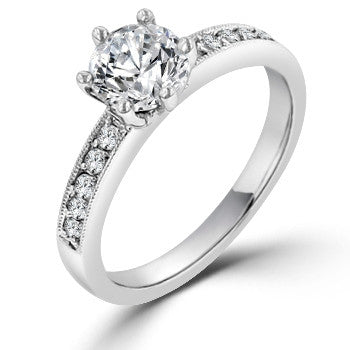 Round Diamond Solitaire Engagement Ring with Ten Diamond Eternity Shank
