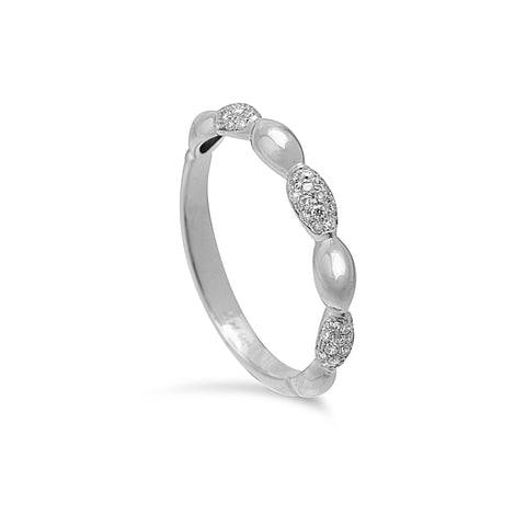 14K White Alternating Diamond Bump Ring - from Holsten Jewelers