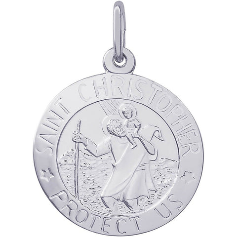 Sterling Silver St. Christopher Disc Charm - from Holsten Jewelers